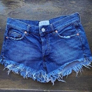 We The Free Raw Hem Button Fly Shorts 25 Blue